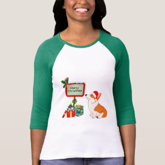 Welsh Corgi with Santa Hat and Sign T-Shirt