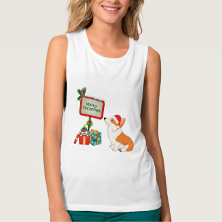 Welsh Corgi with Santa Hat and Sign Tank Top