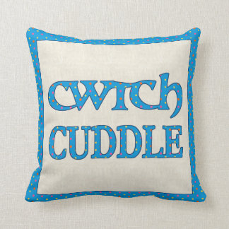 Welsh Cwtch Throw Pillow, Cushion, Polkas on Blue Throw Pillow