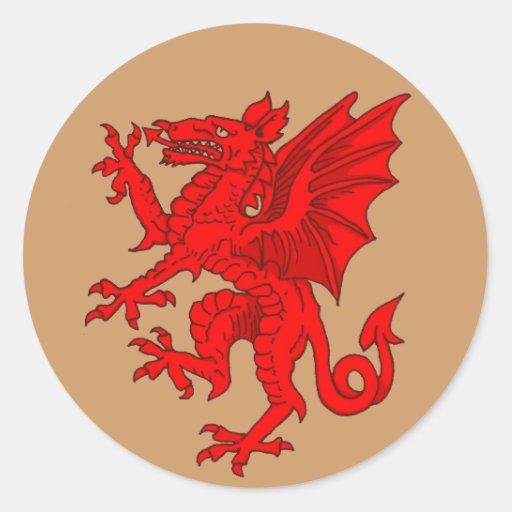 Welsh dragon brown - Customized Round Sticker