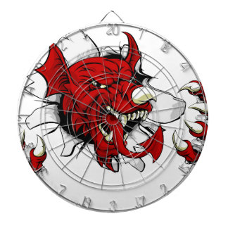Welsh Dragon Clawing Through Dartboard With Darts
