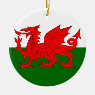 Welsh Dragon Flag Round Ceramic Ornament