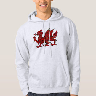 Welsh Dragon Grunge - Men's Hooded Pullover