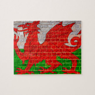 Welsh dragon on a brick wall jigsaw puzzle