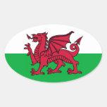 Welsh Dragon Oval Sticker