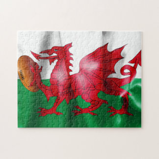 Welsh Dragon Rugby Ball Flag Jigsaw Puzzle