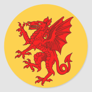 Welsh dragon yellow - Customized Round Sticker