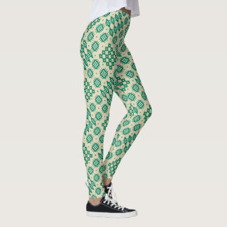 Welsh Faux Tapestry Green and White on Beige Leggings