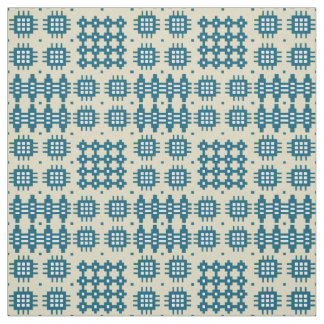 Welsh Faux Tapestry Navy Blue on Taupe Pattern Fabric