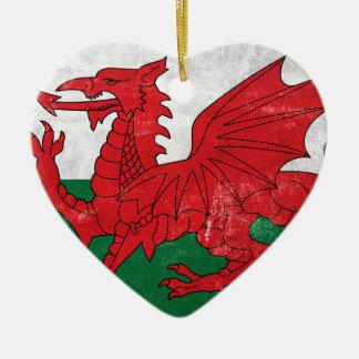 Welsh Flag Ceramic Heart Ornament