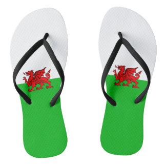 Welsh flag flip flops