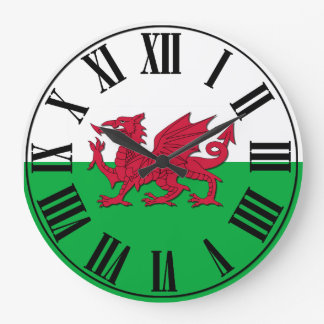 Welsh Flag - Green and White backed, Red Dragon Large Clock