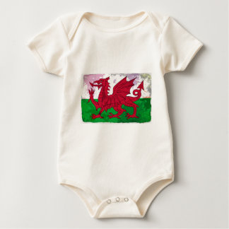 Welsh Flag Grunge Baby Bodysuit