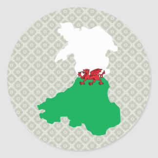 Welsh Flag Map full size Classic Round Sticker