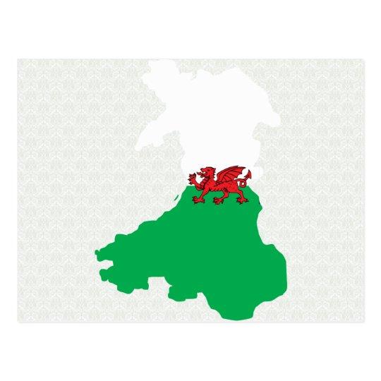Welsh Flag Map full size Postcard