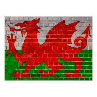 Welsh flag on a brick wall poster