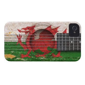 Welsh Flag on Old Acoustic Guitar Case-Mate iPhone 4 Case