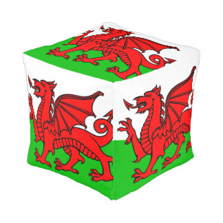 Welsh flag pouf