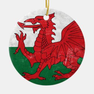 Welsh Flag Round Ceramic Ornament