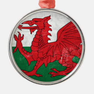 Welsh Flag Silver-Colored Round Ornament