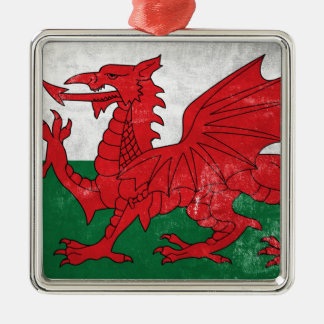 Welsh Flag Silver-Colored Square Ornament