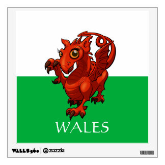 Welsh Flag With Baby Red Dragon Cartoon And Legend Wall Sticker