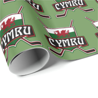 Welsh Ice Hockey Gift Wrap, Wales Flag Wrapping Paper