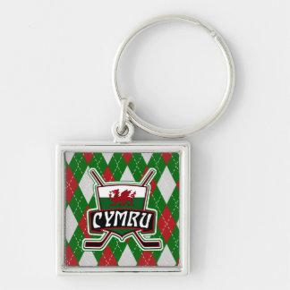 Welsh Ice Hockey Keyring, Wales Flag Keychain