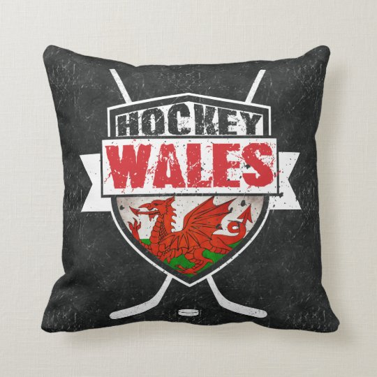 Welsh Ice Hockey Pillow, Wales Flag Throw Pillow