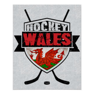Welsh Ice Hockey Poster Print, Wales Flag