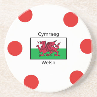 Welsh Language And Wales Flag Design Coaster