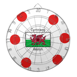 Welsh Language And Wales Flag Design Dartboard