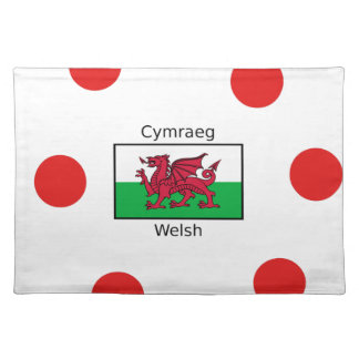 Welsh Language And Wales Flag Design Placemat