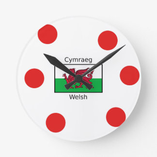 Welsh Language And Wales Flag Design Round Clock