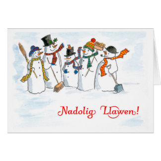 Welsh Language Greeting Christmas Snowmen Card