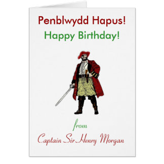 Welsh Pirate Birthday Greeting Card