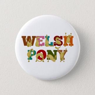 Welsh Pony with colorful text 2 Inch Round Button