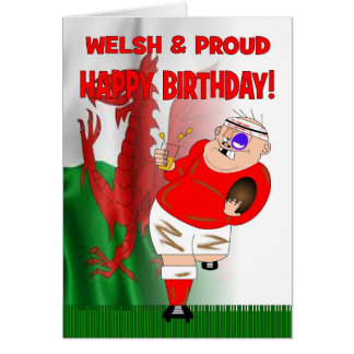 Welsh & Proud Beer Rugby Birthday Card