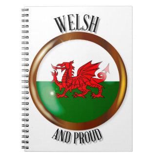 Welsh Proud Flag Button Notebook