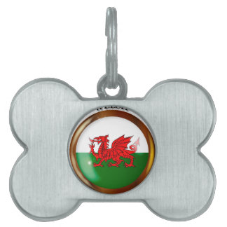 Welsh Proud Flag Button Pet Tag