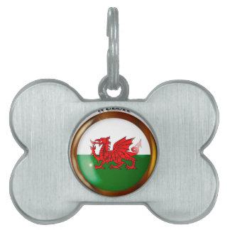 Welsh Proud Flag Button Pet Tags