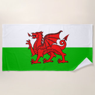Welsh Red Dragon Wales Flag Beach Towel