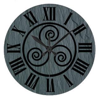 Welsh Slate Effect, Celtic Icon, Black Roman Figs. Wall Clock