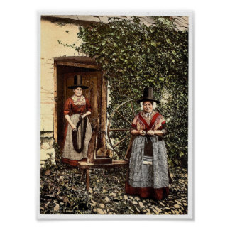 Welsh spinners and spinning wheel, Wales rare Phot Poster