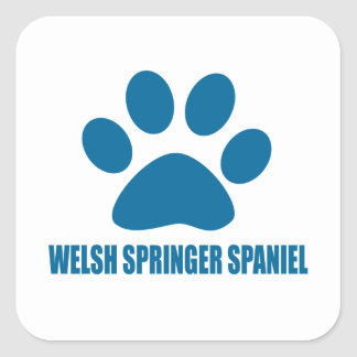 WELSH SPRINGER SPANIEL DOG DESIGNS SQUARE STICKER