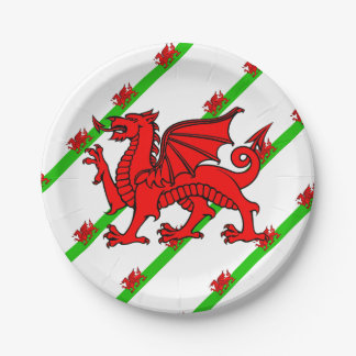 Welsh stripes flag paper plate