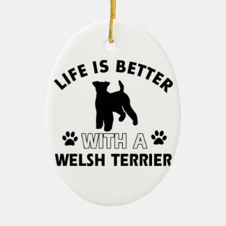 Welsh Terrier dog breed designs Ceramic Ornament