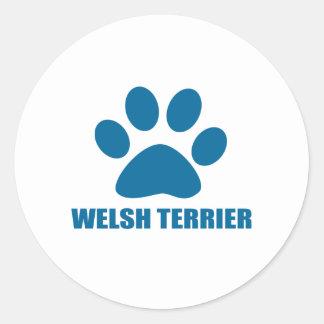 WELSH TERRIER DOG DESIGNS CLASSIC ROUND STICKER