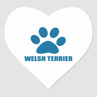 WELSH TERRIER DOG DESIGNS HEART STICKER