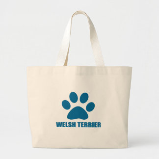 WELSH TERRIER DOG DESIGNS LARGE TOTE BAG